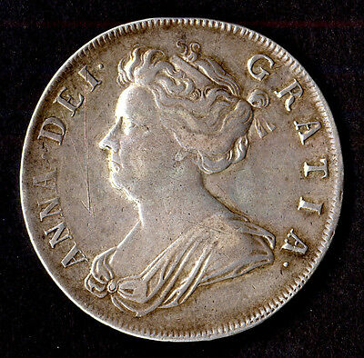 Anne, halfcrown, 1708 plumes in angles, very fine