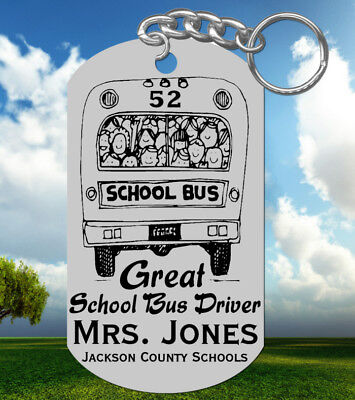 GREAT! SCHOOL BUS DRIVER Keychain, Personalized with NAME, Fun Gift!