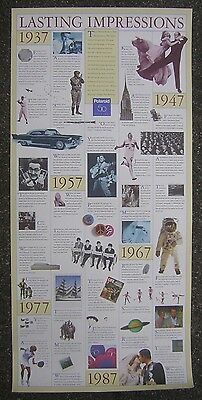 "Polaroid 50th Anniversary - 1987 Collectible 18x38"" Time Line Poster - Dr. Land"