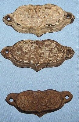 3 Antique Eastlake Cabinet Drawer Bin Cup Finger Pulls Set Oval Ornate Cast Iron