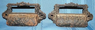 2 Ornate Cast Iron Eastlake Apothecary Drawer Bin Cup Finger Pull Label Holder