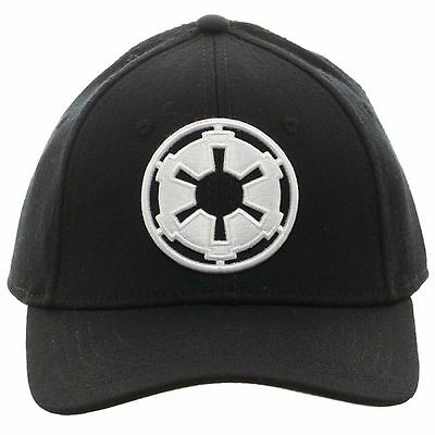 Star Wars Black Imperial Symbol Embroidered Logo Stretch Flex Fit Cap Hat