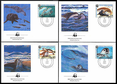 1986 Mauritania - Wwf - Mediterranean Monk Seal - 4 Covers - Fdc - Cover - J29