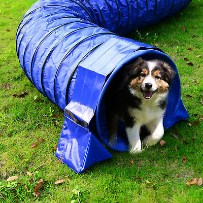 PawHut Tunnel Sand Bags Holder Fixation Dog Agility Exercise Training Blue