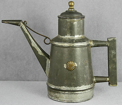 Estate - Old Hand Tinkered Olive Oil Can With Spout Brass Details 8 Inches Tall
