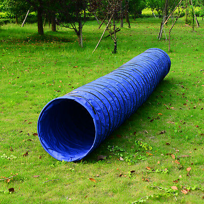PawHut Dog Tunnel Agility Training Run Exercise 5.5m Pet Puppy Blue Outdoor
