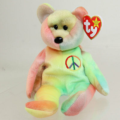 TY Beanie Baby - PEACE the Ty-Dyed Bear (8.5 inch - Yellow/Green) MINT