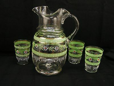 Antique Victorian Enamel Hand Painted Daisy Pitcher 3 Tumblers Blown Glass (C)