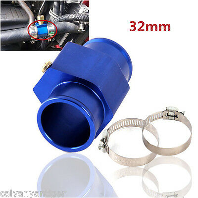 Universal 32mm Water Temp Gauge Joint Pipe Sensor Radiator Hose Adapter Blue