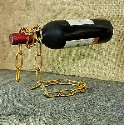 Magic Illusion Floating Gold Chain Wine Bottle Holder Stand Rack Home Decoration