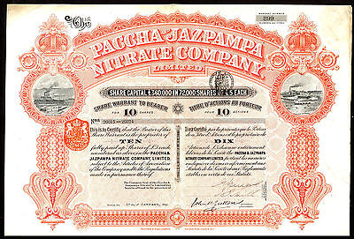 Chile: Paccha & Jazpampa Nitrate Co. Ltd., 10 shares, 1895, Waterlow printing