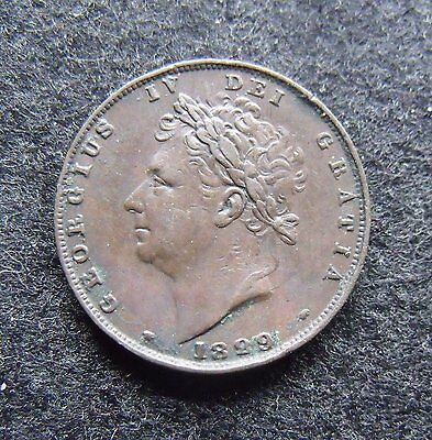1829 George IV Copper Farthing Type II Britiish Coins More pics in description.