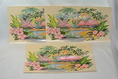 Vintage Pink FLAMINGO Large 13 inch DECAL Liberty Company SET OF 3