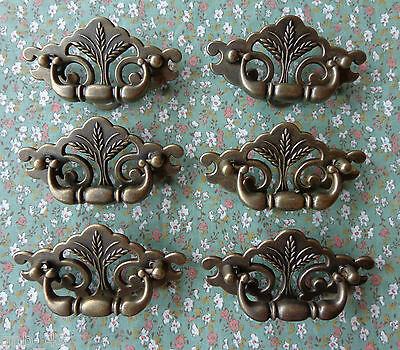 "Set of 6 New Continental Brass Antique Brass Wheat Drawer Swing Pulls 3"" Centers"