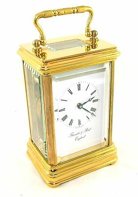 THWAITES & REED Brass Carriage Mantel Clock Timepiece with Key  Working Order