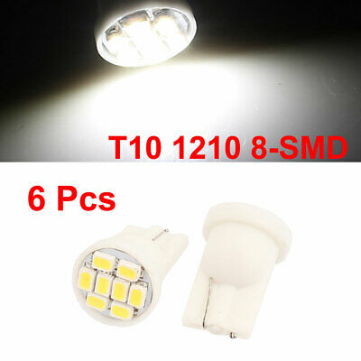 6 Pcs T10 1210 8-SMD White LED Wedge Map Dome Roof Light Bulb Lamp 12V Internal
