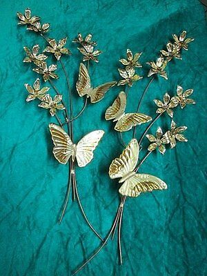 Lot of 2 Home Interiors Metal Butterflies & Flowers Blossoms Swag Wall Accents