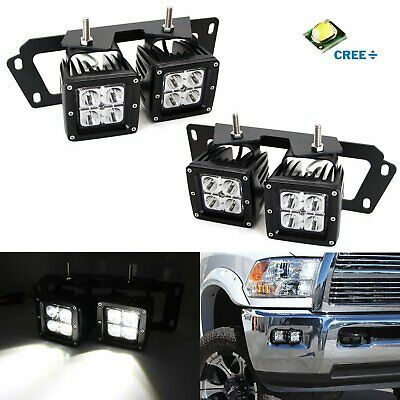 80W CREE Dual LED Pods w/Foglight Location Bracket, Wire For Dodge RAM 1500 2500