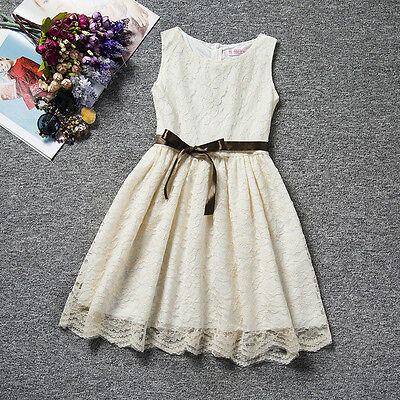 Flower Girl Kids Princess Vintage Lace Dress Wedding Party Pageant Dresses Gown