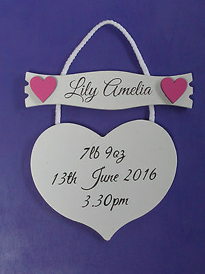 Personalised New Baby Gift - Printed White Wooden Shabby Chic Hanging Heart
