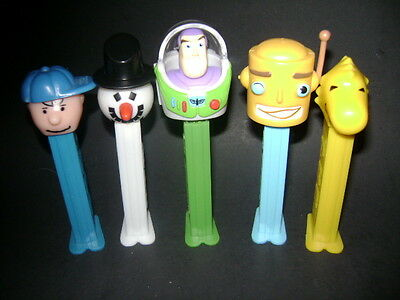 Pez Figures Lot Of 5 Buzz Lightyear Snow Man Charlie Brown Robot & Bird