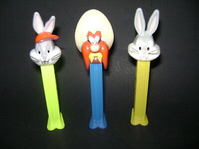 Pez Figures Lot Of 3 Two Variation Bugs Bunny And Yosimite Sam Candy Dispencer