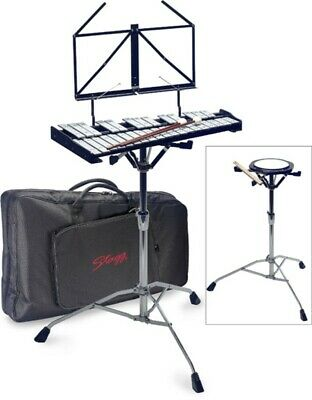 STAGG 32 METALLOPHONE BELL SET w/ STAND, PRACTICE DRUM PAD, STICKS & BAG