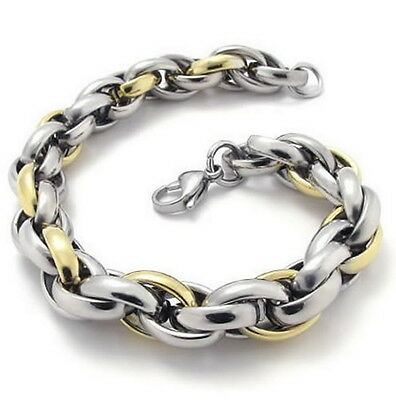 "MENDINO 9"" Men's Polished Link 316L Stainless Steel Bracelet Silver Gold Tone"