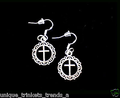 Buy 3 Get 1 Free~Silver Cross Filigree Dangle Fashion Earrings~925 Sterling Hook