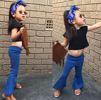 Hot Sale Kids Baby Girls Jeans Vintage Bell-bottom Trousers Wide leg Denim Pants
