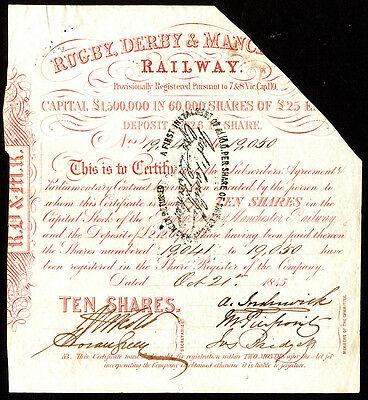 Rugby, Derby & Manchester Railway, provisional cert for 10 shares, 1845