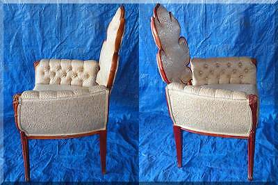Vintage Mid Century Red Oak Hand Carved Armchair Palmate Style Leaf Back Tufted