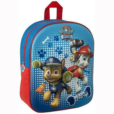 Paw Patrol 3D Junior Backpack Childrens/Boys Rucksack School Holiday Travel Bag