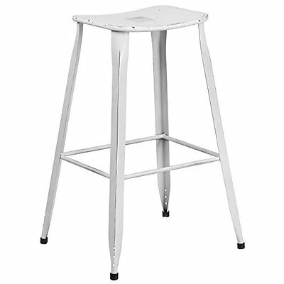 Flash Furniture ET360430DISWHGG Distressed White, Metal Indoor Outdoor Barstool