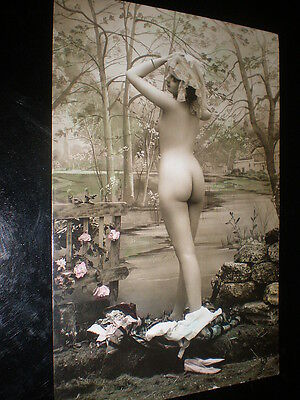 Old real tinted photograph RPPC nude woman postcard France c1920s