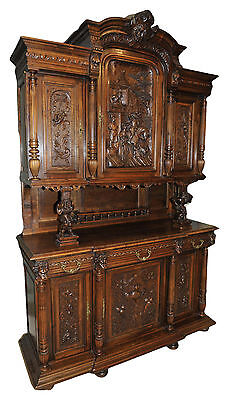 Antique French Gothic Cabinet Wonderful Hand Carved JESTERS, Walnut 19th Century