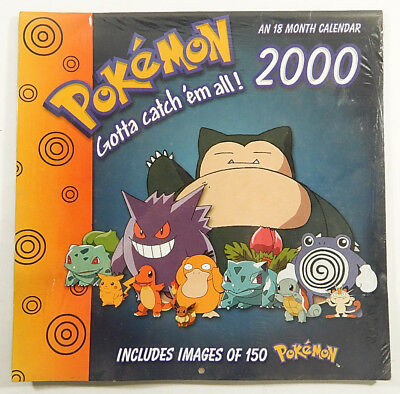 2000 Trends Nintendo Pokemon 18-Month Wall Calendar Sealed