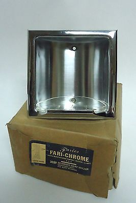 Vintage Recessed Soap Dish  * Faries Fari-Chrome * NOS * with removable tray