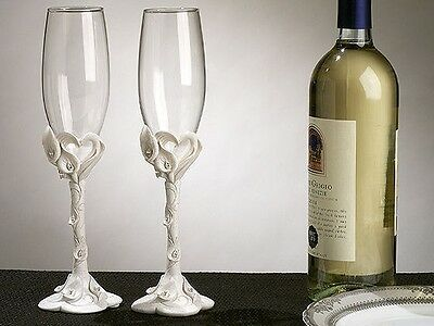 Calla Lily Toasting Flutes Set with Crystal Accents Wedding Toasting Glasses