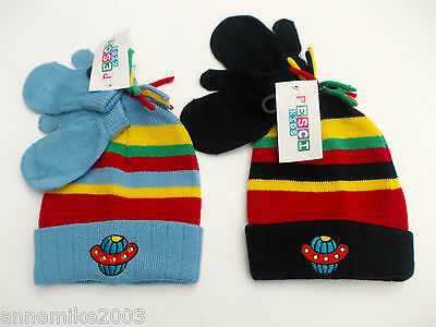 BNWT baby boys winter spaceship hat in black stripe or blue stripe 6-12 12-18m