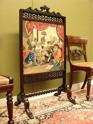 FINE ANTIQUE ROSEWOOD REVERSIBLE FIRE SCREEN ~ BEAUTIFUL CARVING. LATE 1800s