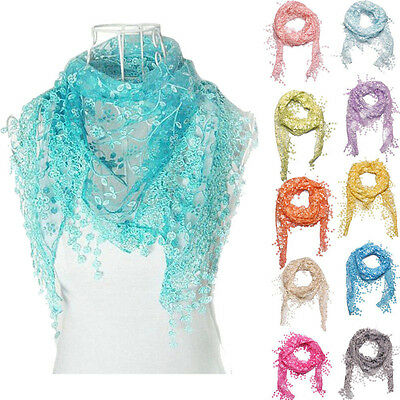 Women Lace Tassel Rose Floral Knit Mantilla Triangle Hollow Scarf Shawl Wrap