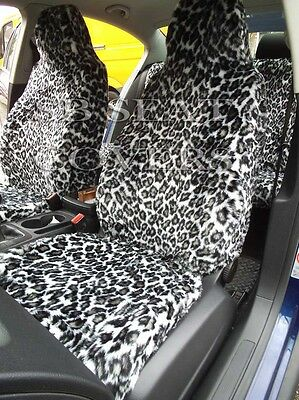 To Fit A Ford Puma Car, Seat Covers, Snow Leopard Faux Fur Full Set