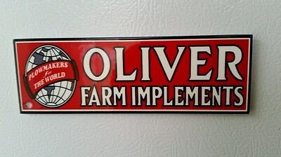 Oliver Farm Implements Sign Tool Box Magnet  Gas Oil Tractor  Barn Seed Feed IH
