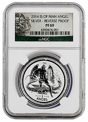 2016 Isle of Man 1 Oz Reverse Proof Silver Angel NGC PF69 (Angel Label) SKU41205