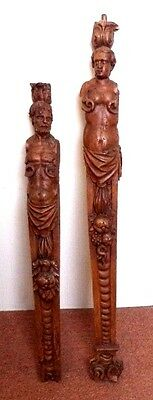 *rare* Amazing Antique Estate Hand Carved Victorian Mid 1800's Nude Newel Posts!