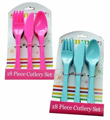 18pc Camping BBQ'S Birthday Hen Nights Parties Reusable Plastic Cutlery Set