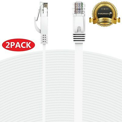 2x 25FT CAT6 RJ45 23AWG UTP Twist Pair Solid Network Ethernet LAN Cable - White