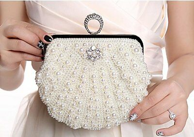 Women's Pearl Rhinestone Handbag Clutch Party Bridal Evening Bag Hand Purse Make