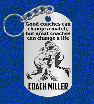 WRESTLING Coach Keychain Gift, Personalized with their NAME & Team!